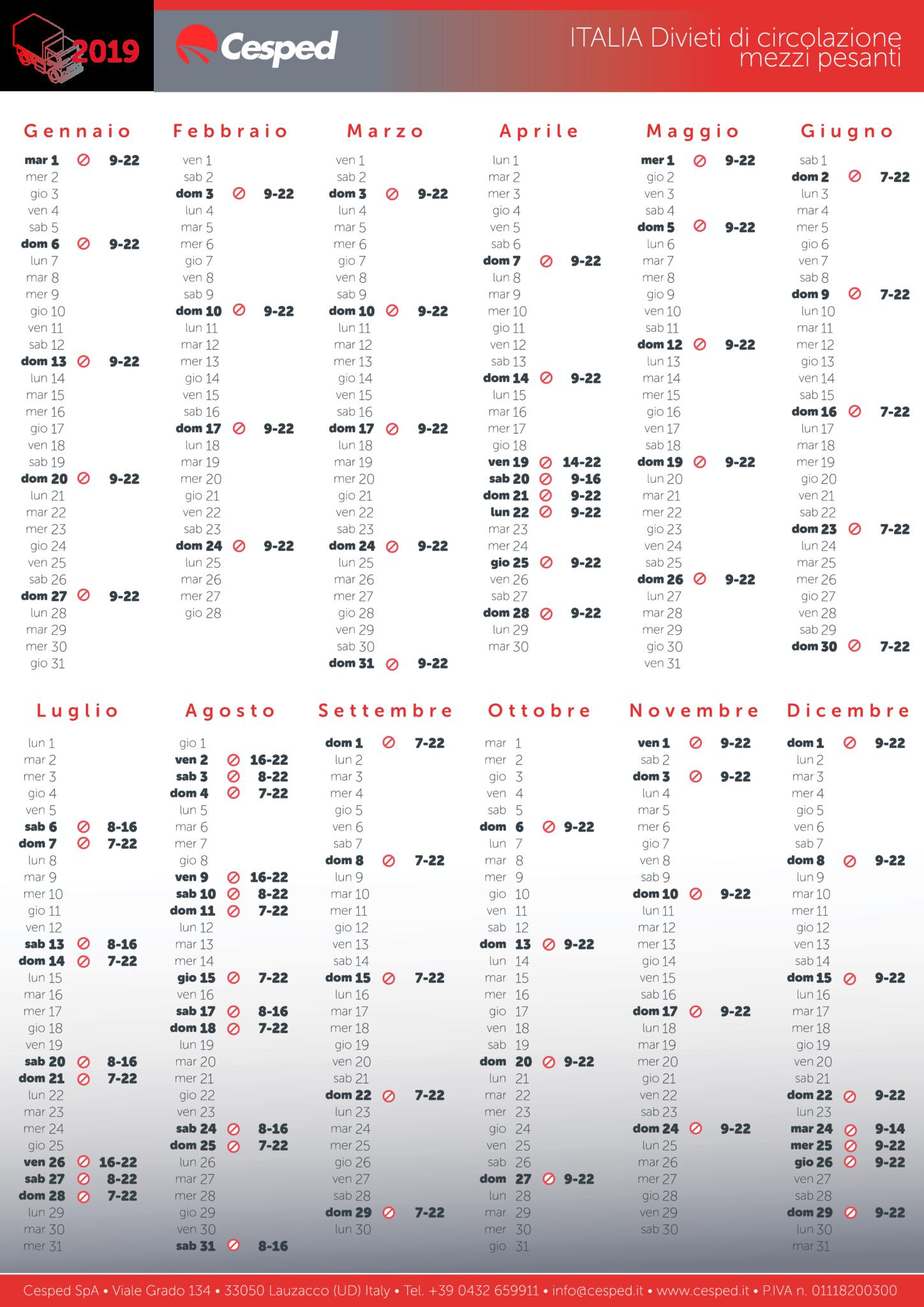 Calendario Aprile 2018 Con Festivita.Calendario 2019 Divieti Di Circolazione Per Mezzi Pesanti