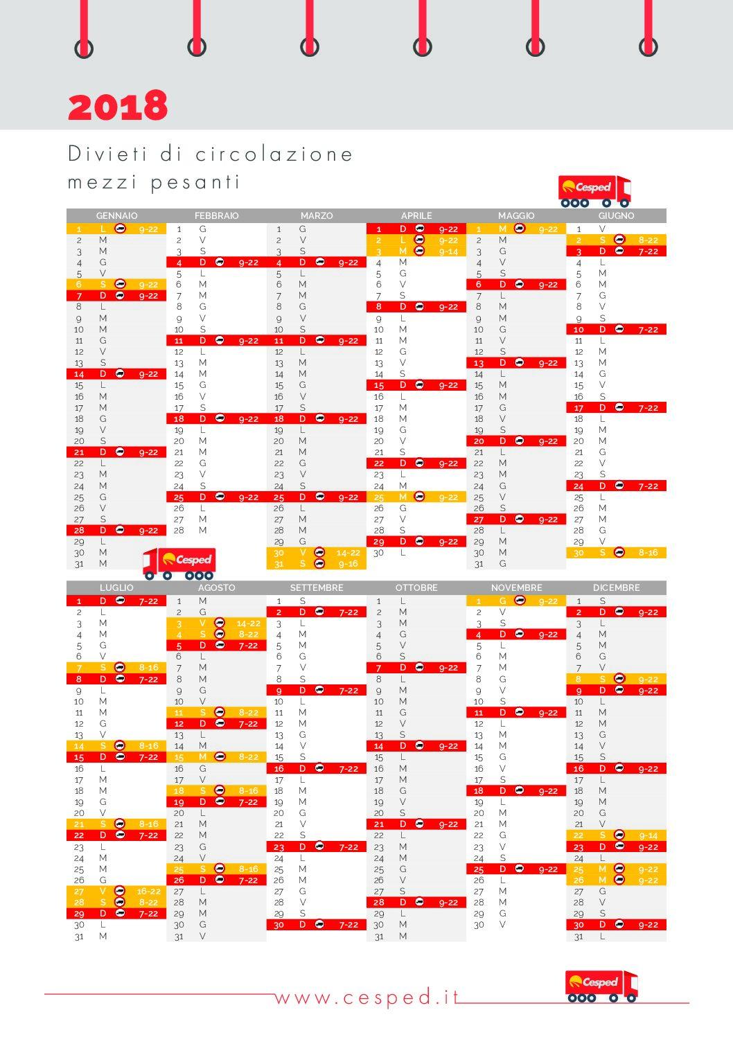 Calendario Camion 2019.Calendario Divieti Camion E Mezzi Pesanti 2018 In Italia