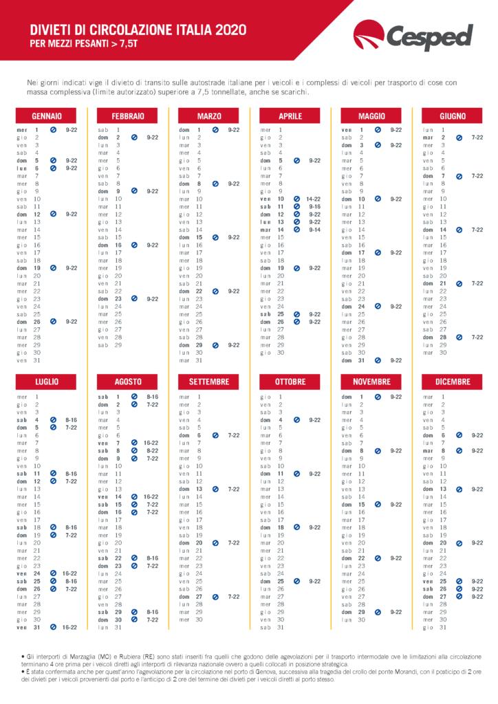 Calendario 2020 – Divieti di circolazione per mezzi pesanti 1
